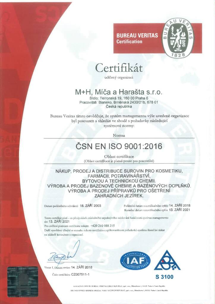 Certifikat ISO (2018-2021)